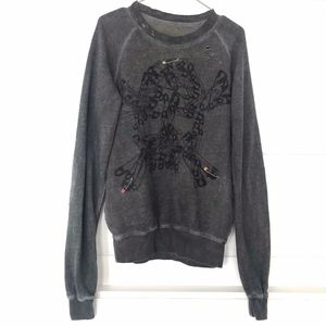 Happiness Ripped Skull Sweater Small